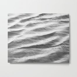 Black and White Water Ripple Photography, Grey Ocean Ripples, Gray Neutral Sea Waves, Seascape Wave Metal Print