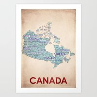 canada Art Prints featuring Canada by Wordmaps
