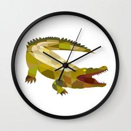 Alligator Crocodile Gaping Mouth Low Polygon Wall Clock