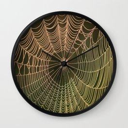 Spider Web and Morning Mist Wall Clock