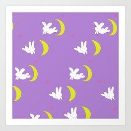 Usagi (Sailor Moon) Bedspread Bunny and Moon  Art Print