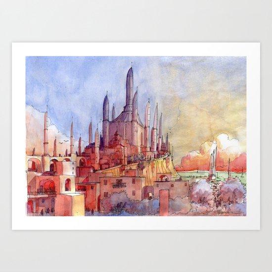 Tempio sul mare Art Print