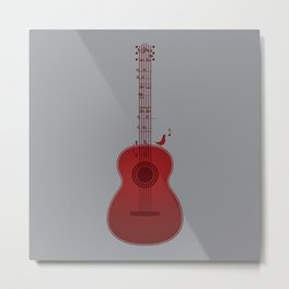 Classical Notation - Cherry Red Metal Print