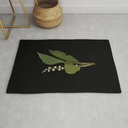 Convallaria Majalis Mary Delany Delicate Paper Flower Collage Black Background Floral Botanical Rug