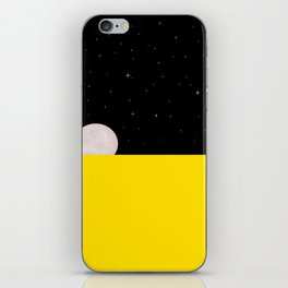 Black night with stars, moon, and yellow sea iPhone Skin