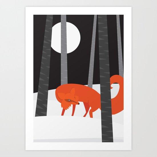 Winter Fox Vertical Art Print
