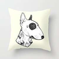 bull terrier Throw Pillows featuring Bull Terrier dog Tattooed by PaperTigress