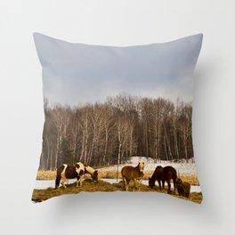 Peshtigo Horses Throw Pillow