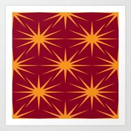 Mid-Century Modern Art   Starburst 2.4 Orange Burgundy Art Print