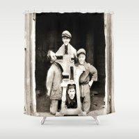 heavy metal Shower Curtains featuring Heavy Metal Boys by Wanker & Wanker