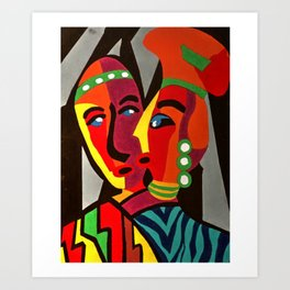 African Traditional Tribal Women Abstract Art Canvas Painting Series - 5 Art Print