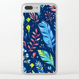 Feathers Pattern 02 Clear iPhone Case