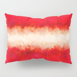 Bright Ruby Red & Cream Abstract Pillow Sham