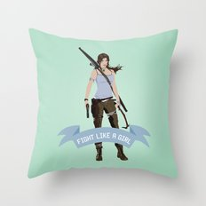 Fight Like a Girl: Lara Croft Throw Pillow