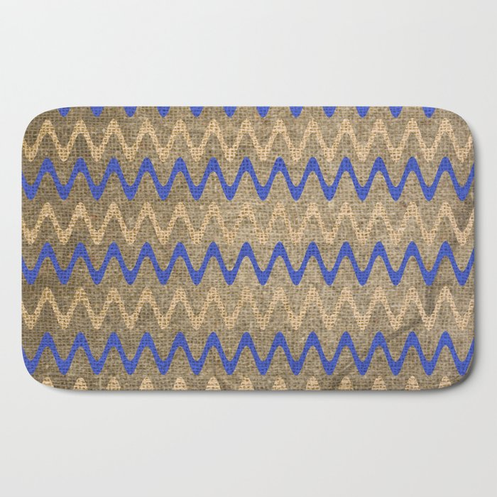 Blue and Tan Zigzag Stripes on Grungy Brown Burlap Graphic Design Bath Mat