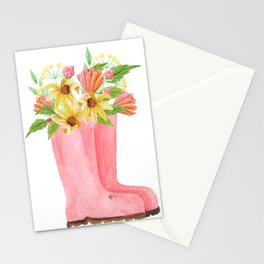 Pink rain boots with flowers Stationery Cards
