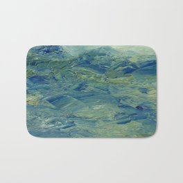 Abstract Blue Green Waves of Aqua Ocean Blue Mountains Bath Mat