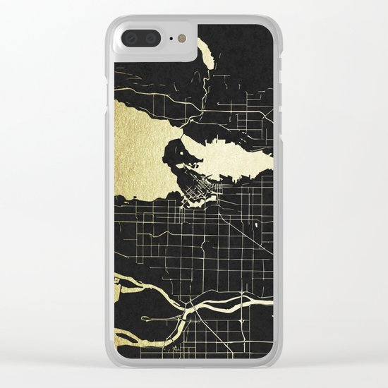 Vancouver Canada Black and Gold Map Clear iPhone Case