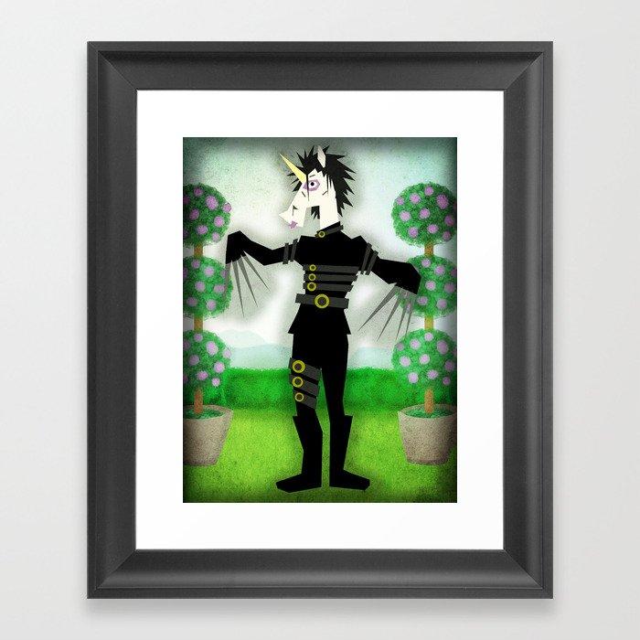 Scissorhands Unicorn Framed Art Print