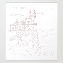 Old medieval castle on the cliff, wall art Art Print