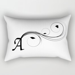 black and white illustration of A letter Rectangular Pillow