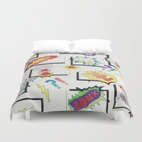 comic book Duvet Covers featuring Comic Book by michaelrosen