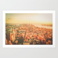 new york city Art Prints featuring New York City Sunset by Vivienne Gucwa