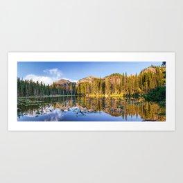 Nymph Lake Rocky Mountain Landscape Colorado Panorama Art Print