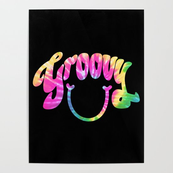 Groovy Smile // Tie-dye Black Fun Retro 70s Hippie Vibes Green Yellow Pink Lettering Typography Art by mightyfacedesigns
