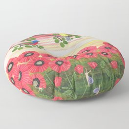 Painted buntings, poppies, and snails Floor Pillow