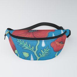Poppies in the rain Fanny Pack