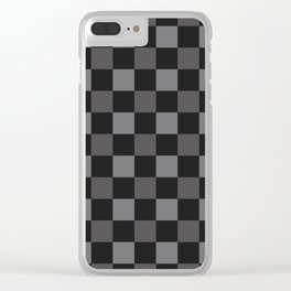 Black & Grey Checkered Plaid Squares Clear iPhone Case