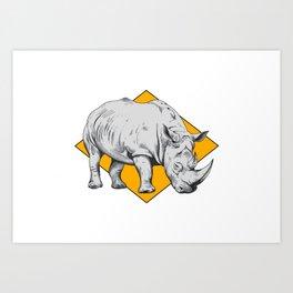 Rhino Yellow Art Print
