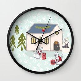 Winter Holidays Snow Scene Cottage Hand Drawn Illustration Wall Clock