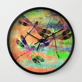 Mauritius Vintage Dragonflies Colours C Wall Clock