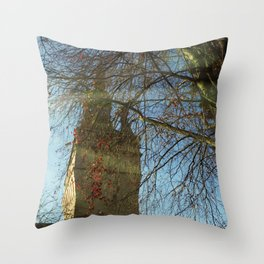Old Tower And Leafless Branches Throw Pillow