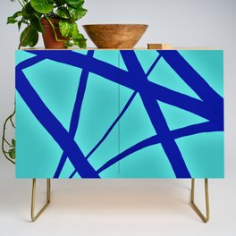 Glowing Aqua and Cobalt Geometric Abstract Credenza