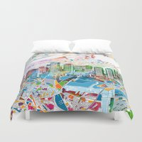 boston map Duvet Covers featuring boston city skyline map by Bekim ART