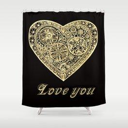 golden heart I love you Shower Curtain