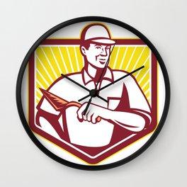 Tiler Plasterer Mason Masonry Worker Retro Wall Clock