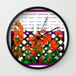 Abstracted Orange Hollyhocks Purple Trellis Garden Wall Clock