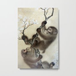 Mori Sosen Monkeys in a Blossoming Cherry Tree Metal Print