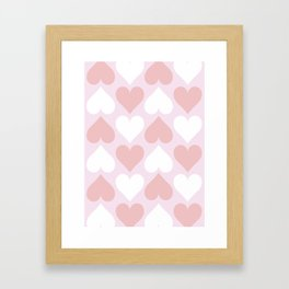 Big Heart Pattern - Pink and Living Coral Framed Art Print