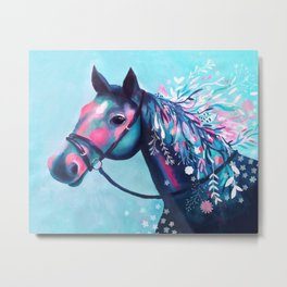 Horse with Floral Mane Metal Print
