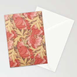 William Morris Poppies Floral Art Nouveau Pattern Stationery Cards