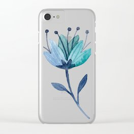 flores azul Clear iPhone Case