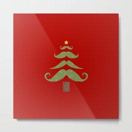Mustache Christmas Tree Metal Print