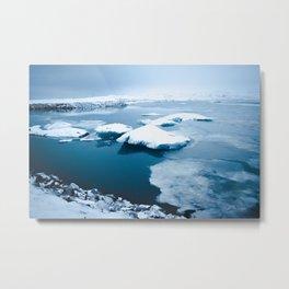 Iceland - Floating Icebergs Metal Print