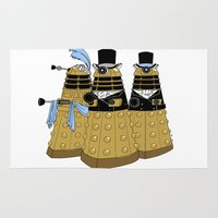 pride and prejudice Area & Throw Rugs featuring Pride and Prejudice and Daleks by mikaelak