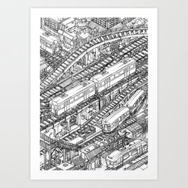 The Town of Train 3 Art Print